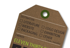 Mock-up of fake luggage tag